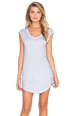 Bobi Cold Water Washed Slubbed Jersey V-Neck Tunic in Uniblu