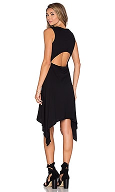 Bobi Lightweight Jersey Cut Out Asymmetrical Dress in Black