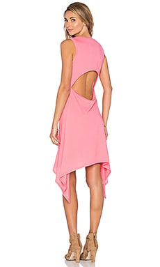 Bobi Lightweight Jersey Cut Out Asymmetrical Dress in Juicy Pink