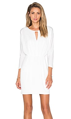 BLACK Luxe Liquid Jersey Gathered Mini Dress in White