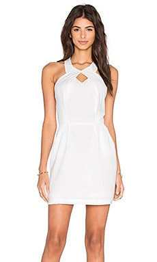 BLACK Georgette Keyhole Halter Dress in White