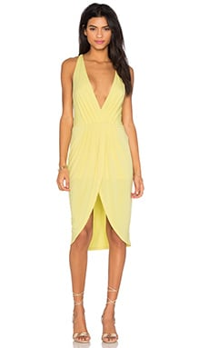 BLACK Liquid Jersey V Neck Slit Mini Dress en Jaune