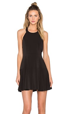 BLACK Sateen Twill Sleeveless Mini Dress in Black