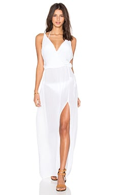 Bobi Rayon Gauze V Neck Sleeveless Maxi Dress in White