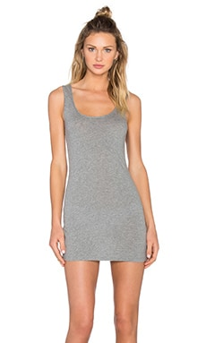 Bobi Light Weight Jersey Open Back Sleeveless Mini Dress in Thunder