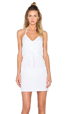 Bobi Supreme Jersey Tied Waist V Neck Dress in White
