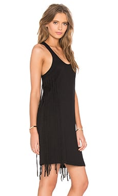 Bobi Slubbed Jersey Scoop Neck Fringe Tank Dress in Black