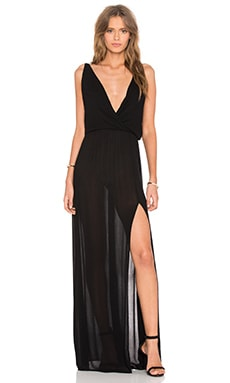 Rayon Gauze V Neck Sleeveless Maxi Dress in Black