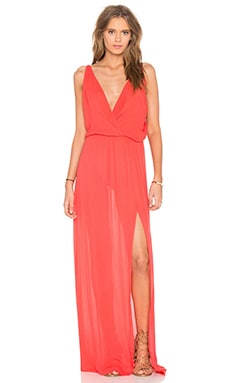 Rayon Gauze V Neck Sleeveless Maxi Dress en Rouge Rétro