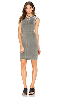 Bobi Burnout Pilled Terry Crew Neck Tank Dress in Tank
