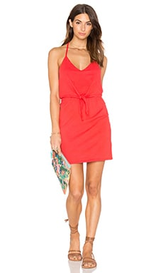 Supreme Jersey Tied Waist V Neck Dress en Rouge Rétro