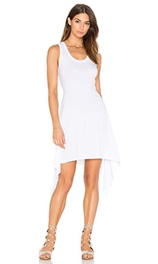 Bobi Light Weight Jersey Scoop Neck Back Cut Out Mini Dress in White