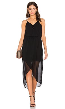 BLACK Mixed Chiffon Wrap Dress in Black