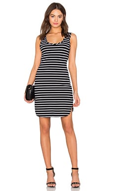 Cashmere Terry Stripe Midi Tank Dress in Black