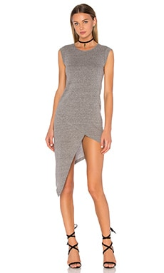 Bobi Speckled Jersey Bodycon Slit Dress in Grey