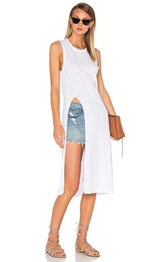 Bobi Slubbed Jersey Slit Tank Dress in White