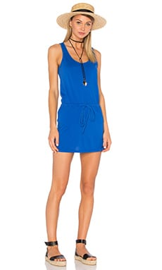 Bobi Supreme Jersey Tie Front Tank Dress in Cadet