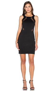 BLACK Double Knit Sleeveless Bodycon Mini Dress in Black
