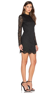 BLACK Lace Crochet Overlay Long Sleeve Crew Neck Mini Dress in Black