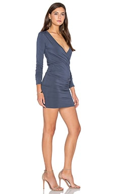 Bobi Jersey Long Sleeve Cross Front Mini Dress in Granite