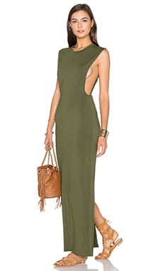 Jersey Sleeveless Back Slit Maxi Dress in Chartreuse