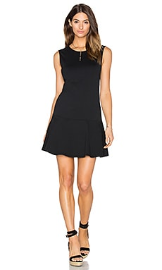 Light Weight Cashmere Terry Fit & Flare Dress in Black