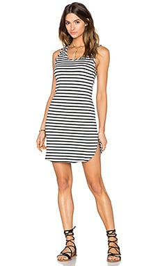Cashmere Terry Stripe Midi Tank Dress in Grey