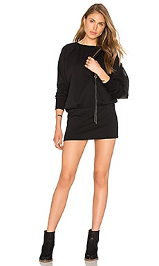 Bobi Cozy French Terry Long Sleeve Dress in Black