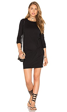 Bobi Supreme Jersey Long Sleeve Knot Mini Dress in Black