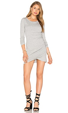 Bobi Supreme Jersey Long Sleeve Ruched Mini Dress in Heather Grey