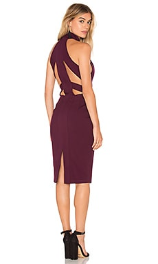 BLACK Double Knit Sleeveless High Neck Mini Dress in Wine