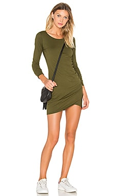 Bobi Supreme Jersey Long Sleeve Ruched Mini Dress in Chartreuse