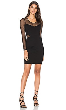 BLACK Double Knit Long Sleeve Bodycon Dress en Noir
