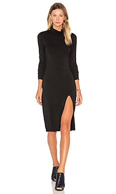Jersey Long Sleeve Turtleneck Mini Dress in Black