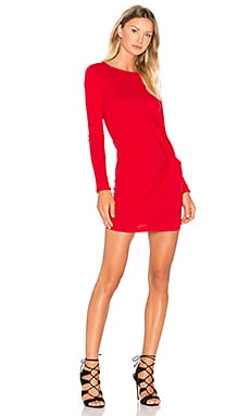 Supreme Jersey Long Sleeve Knot Mini Dress in Fierce