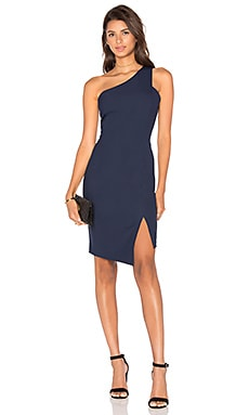 BLACK Woven Crepe One Shoulder Bodycon Dress in Navy
