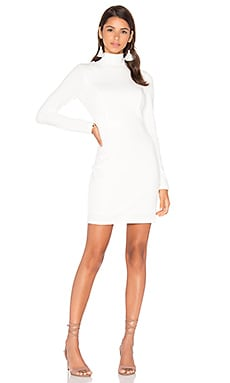 BLACK Knit Boucle Long Sleeve Turtleneck Bodycon Dress in White