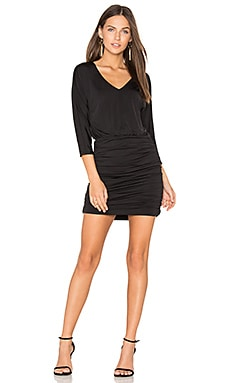 BLACK Luxe Jersey Ruched Mini Dress in Black