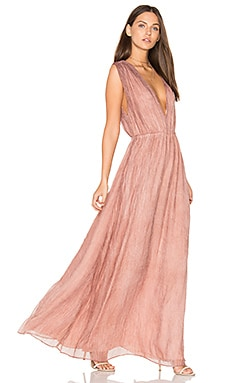 BLACK V Neck Maxi Dress in Tan
