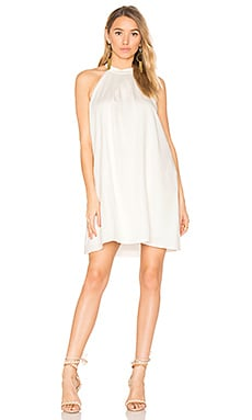 BLACK Woven Halter Dress in White