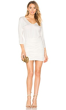 BLACK Luxe Jersey Ruched Mini Dress in White