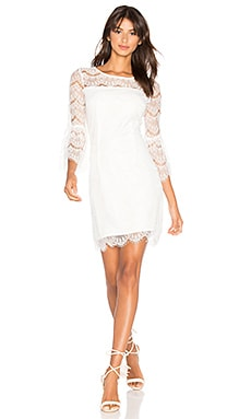 BLACK Ruffle Sleeve Mini Dress in White