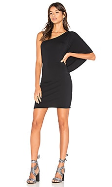 Drape One Shoulder Mini Dress in Black