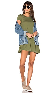 Light Weight Jersey Short Sleeve Dress in Combat