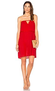 Gauze Off Shoulder Mini Dress en Rouge