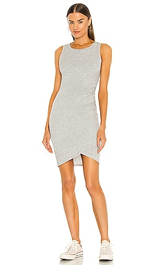 Supreme Jersey Ruched Bodycon Dress in Grau meliert
