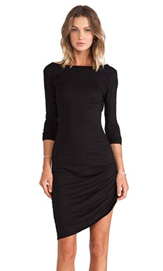 Bobi Light Weight Jersey Asymmetrical Dress in Black