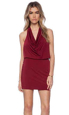 Bobi Liquid Jersey Halter Mini Dress in Wine