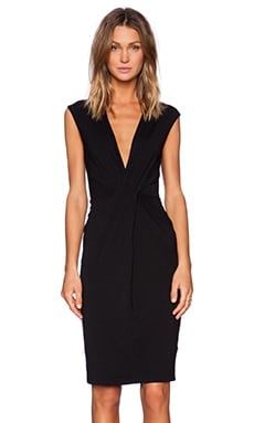 Bobi Rayon Jersey Deep V Dress in Black