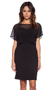 Bobi Rayon Gabardine Mesh Overlay Dress in Black